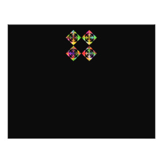 "Rainbow Color Flowers. On Black. 8.5"" X 11"" Flyer"