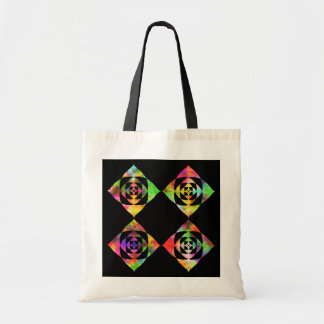 Rainbow Color Flowers. On Black. Budget Tote Bag