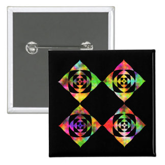 Rainbow Color Flowers. On Black. 2 Inch Square Button