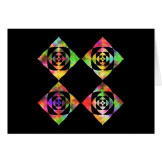 Rainbow Color Flowers. On Black. Greeting Card