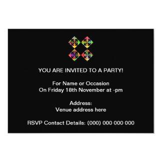 Rainbow Color Flowers. On Black. 5x7 Paper Invitation Card
