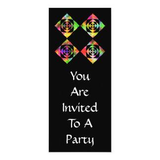 Rainbow Color Flowers. On Black. 4x9.25 Paper Invitation Card