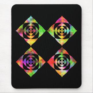 Rainbow Color Flowers. On Black. Mouse Pad