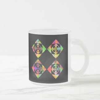 Rainbow Color Flowers. On Black. 10 Oz Frosted Glass Coffee Mug