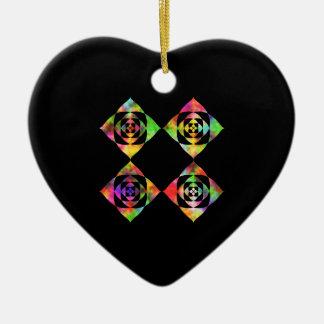 Rainbow Color Flowers. On Black. Double-Sided Heart Ceramic Christmas Ornament