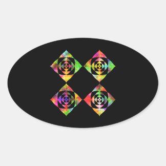 Rainbow Color Flowers. On Black. Oval Sticker
