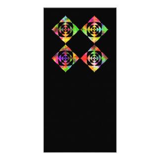 Rainbow Color Flowers. On Black. Customized Photo Card
