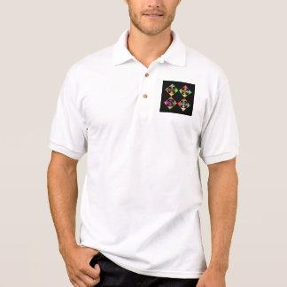 Rainbow Color Flowers. On Black. Polo Shirt