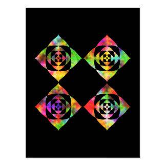 Rainbow Color Flowers. On Black. Postcard