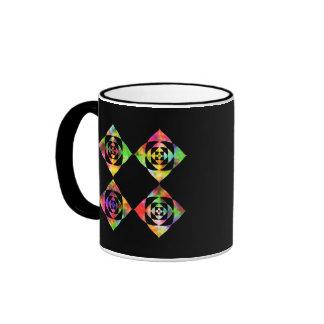 Rainbow Color Flowers. On Black. Ringer Coffee Mug