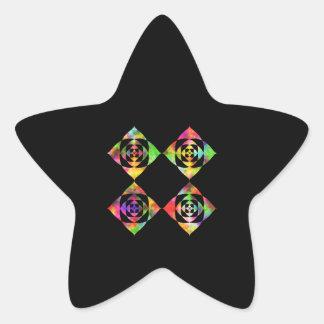 Rainbow Color Flowers. On Black. Star Sticker