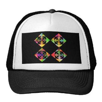Rainbow Color Flowers. On Black. Trucker Hat