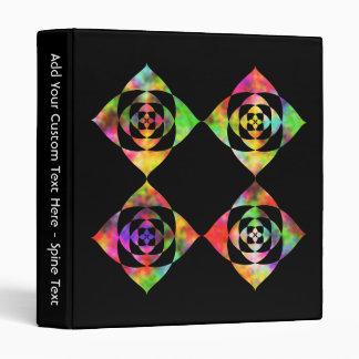 Rainbow Color Flowers. On Black. Vinyl Binder