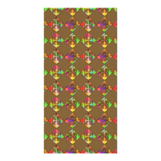 Rainbow Color Flowers. Pattern on Brown. Picture Card