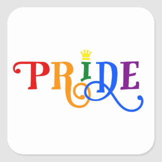 Rainbow Color Gay Pride LGBT Colorful Crown Logo Square Sticker