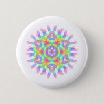 Rainbow color geometric figure like snow crystal button