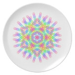 Rainbow color geometric figure like snow crystal dinner plate