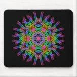 Rainbow color geometric figure like snow crystal. mouse pad
