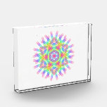 Rainbow color geometric figure like snow crystal photo block