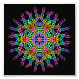 Rainbow color geometric figure like snow crystal. photo print