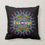 Rainbow color geometric figure like snow crystal throw pillow