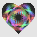 Rainbow color light heart sticker