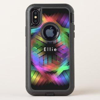 Rainbow color light OtterBox defender iPhone XS case