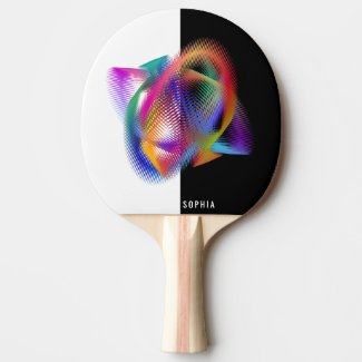 Rainbow color light ping pong paddle