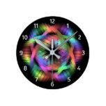 Rainbow color light round clock