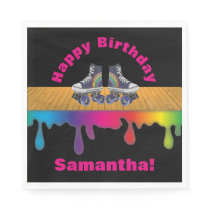 Rainbow Color Paint  Roller Skating Birthday Party Napkin
