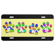 Rainbow Color Paw Prints License Plate at Zazzle