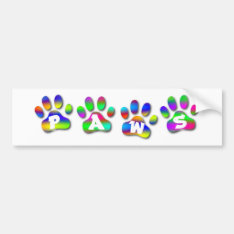 Rainbow Color Paw Prints Name Gift Tag Bookplate Bumper Sticker at Zazzle