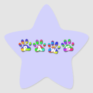 Rainbow Color Paw Prints Name Gift Tag Bookplate Star Stickers