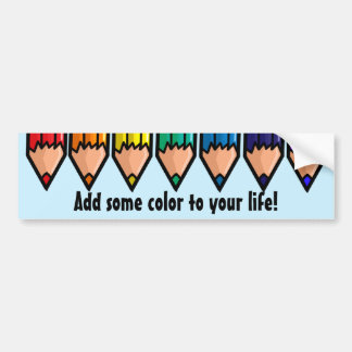 Rainbow color pencils bumper sticker