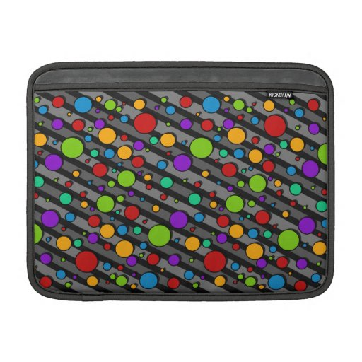 Rainbow Color Polka Dots and Stripes MacBook Sleeves