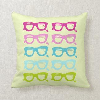 Rainbow Color Retro Sunglasses Square Throw Pillow