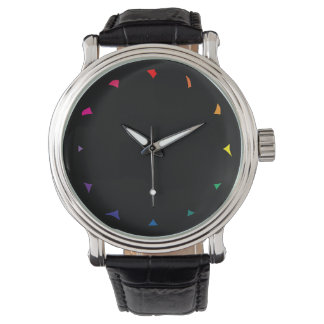 Rainbow Color Shards on Solid Black Color Wrist Watch