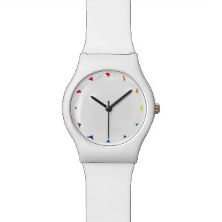 Rainbow Color Shards on Solid White Color Wrist Watch