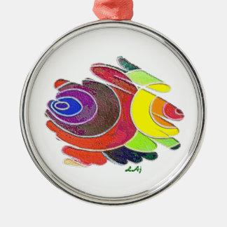 Rainbow Color Spirals Premium Round Ornament