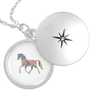 Rainbow Color-Striped Horse Silver Plated Necklace
