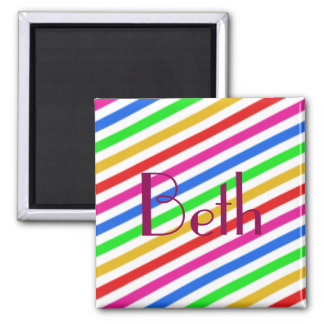 Rainbow Color Striped Personalized Magnet