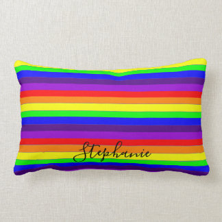Rainbow Color Stripes Lines Abstract Monogram Cool Lumbar Pillow