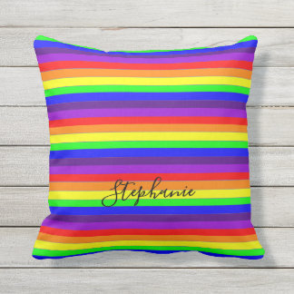 Rainbow Color Stripes Lines Abstract Monograms Thr Outdoor Pillow