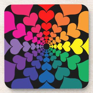 Rainbow Color Valentine Hearts in Circles Beverage Coaster