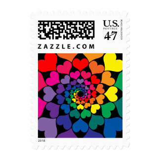Rainbow Color Valentine Hearts in Circles Postage