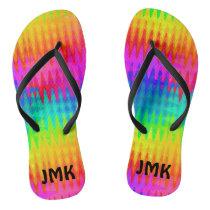 Rainbow Color Waves Flip Flops