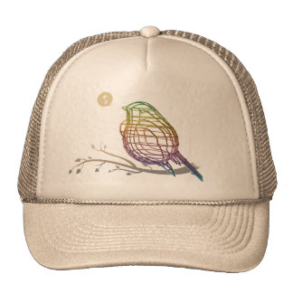 rainbow color wire bird trucker hat