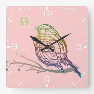 rainbow color wire bird square wall clock