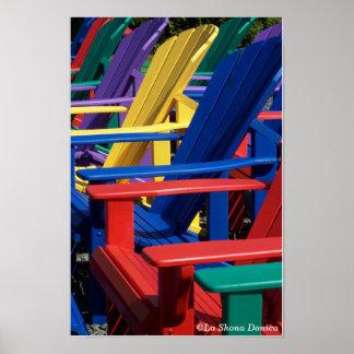 Rainbow Colored Adirondack Chairs Poster