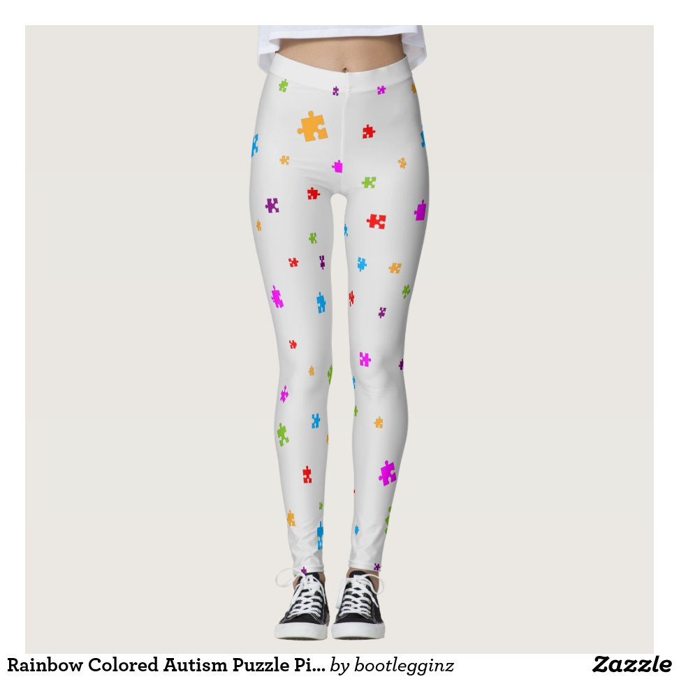 Rainbow Colored Autism Puzzle Pieces on LIGHT GREY Leggings - Yoga And Exercise Pants With Beautiful Graphic Designs